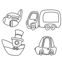 outlined cartoon transport set vector image