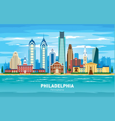 Philadelphia pennsylvania city skyline color vector