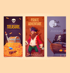 pirate adventure vertical banners or posters set vector image