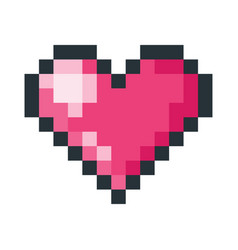 red heart pixel art icon vector image