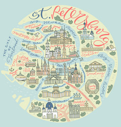 saint petersburg doodle map vector image
