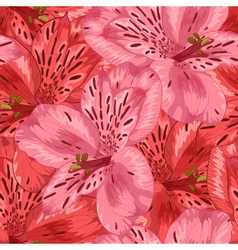 Seamless background with pink and red alstroemeria vector