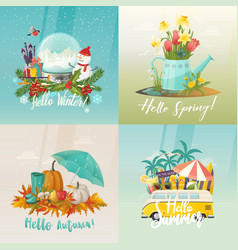 Seasons signs for summer autumn spring winter vector