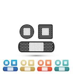 set bandage plaster icon on white background vector image