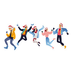 set of happy young people in vector image