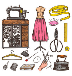 set of sewing tools and elements or materials for vector image
