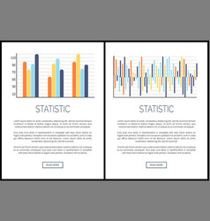 statistic webpages and text data presentation vector image