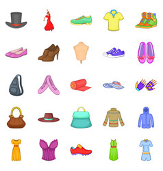 stylish clothes icons set cartoon style vector image
