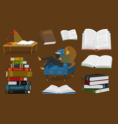 stylish young female reading an open book lover vector image