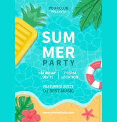 summer party poster summer beach party design vector image