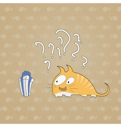 Surprised cat with gift background of fish vector image