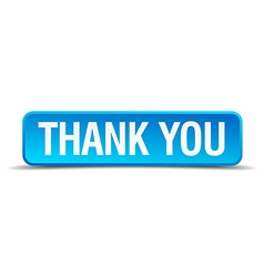 Thank you blue 3d realistic square isolated button vector