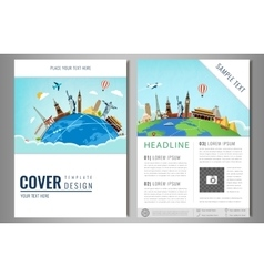 Travel flyer design with famous world landmarks vector image