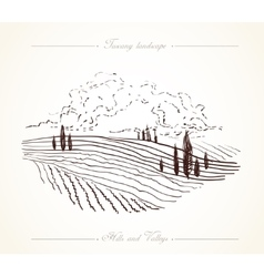 Tuscany Landscape hand drawn vector image