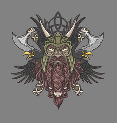 viking warrior head vector image