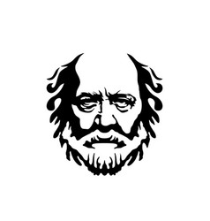 Vintage hipster greek philosopher old man vector