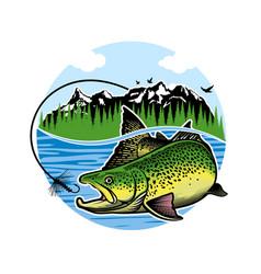 vintage salmon fishing emblem label vector image