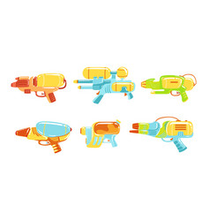water guns collection water pistols toy weapon vector image