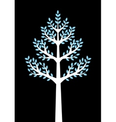 white tree on black background vector image