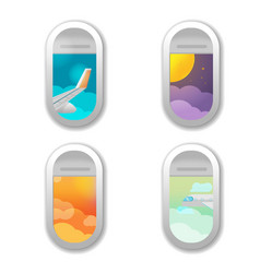 Window airplane different view background vector