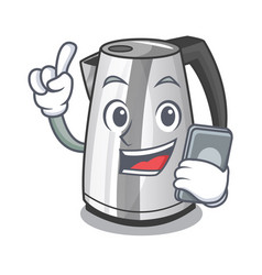 With phone electric stainless steel kettle on vector