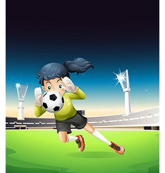 A female football player vector image