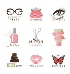 beauty and fashion logo templates vector image vector image