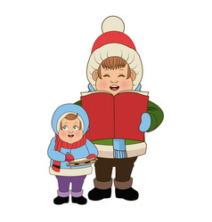 cartoon man and son choir singing for christmas vector image