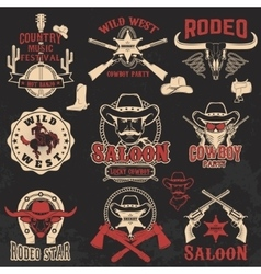 Cowboy rodeo wild west labels vector image