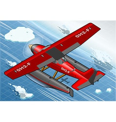 Isometric artic hydroplane in flight in rear view vector