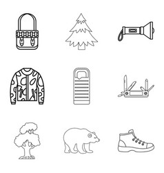 mountain landscape icons set outline style vector image vector image