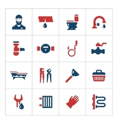 Set color icons of plumbing vector image
