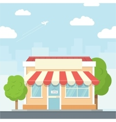 Small shop urban landscape in flat design style vector image vector image