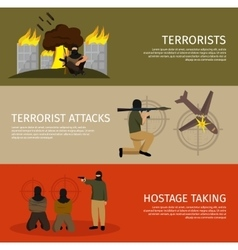 Three Terrorism Flat Banner Set vector image