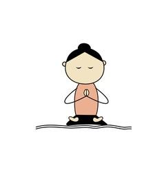 woman practicing yoga lotus pose vector image vector image