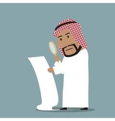 Arabian businessman reading big contract vector image