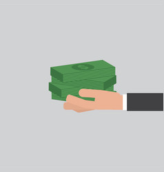 banknotes in hand businessman vector image