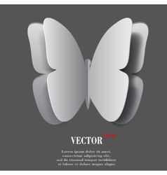 butterfly Flat modern web button with long shadow vector image vector image