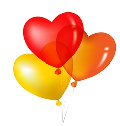 Colorful Heart Shape Balloons Yellow Red And vector image vector image