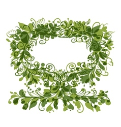 Floral tree green with frame for your text vector image vector image