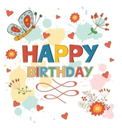 Happy Birthday card with flowers and butterflies vector image