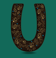 letter u with golden floral decor vector image vector image