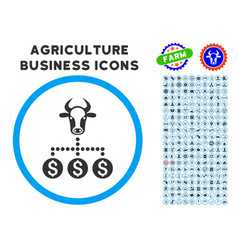 money cattle relations rounded icon with set vector image vector image