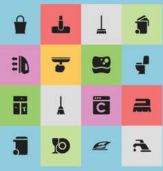 set of 16 editable dry-cleaning icons includes vector image vector image