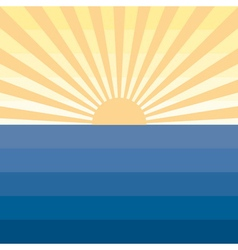 Sun with rays and sea Marine creative background vector image