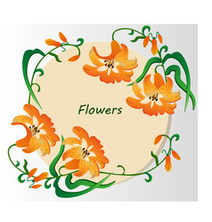 Vintage retro lily flowers invitation card vector