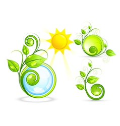 eco buttons and sun vector image vector image