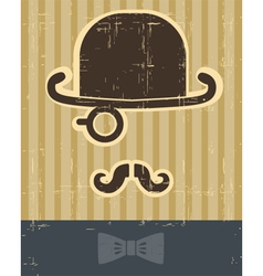 gentlement with mustache and hat on vintage card vector image vector image