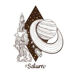 landscape of planet rhombus saturn vector image