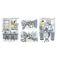 modern room interiors in loft style set of hand vector image